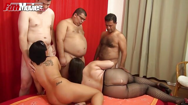 Two mature bespectacled bitches film porno en cuisine suck off phalluses and get cum from a crowd of guys